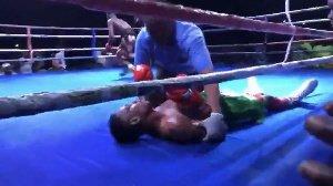 Benin boxer John Amuzu collapses in fight against Wasiru Mohammed