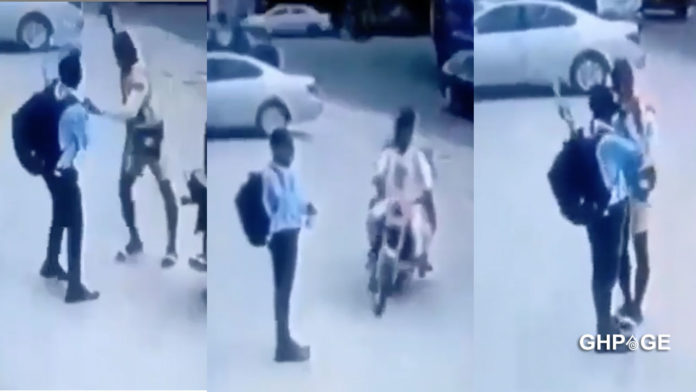 CCCTV captures moment armed men snatched the mobile phone of a guy in public